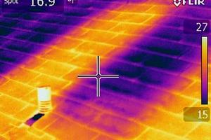 View of temperature variations at roof membrane